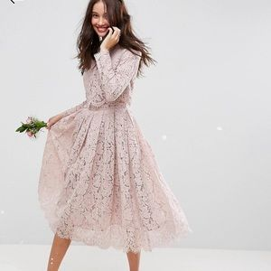 ASOS DESIGN lace long sleeve midi occasional dress